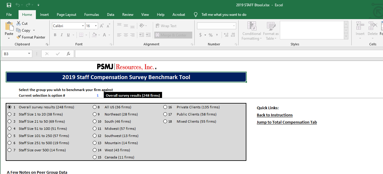 Example of overall survey results